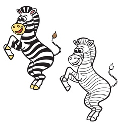 Zebra coloring book vector