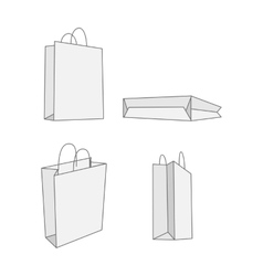 Set of four graphic white paper Bag vector image