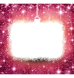 Christmas paper frame on pink background vector