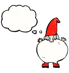 Cartoon tiny santa with thought bubble vector