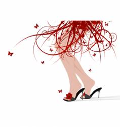 Female feet floral skirt vector