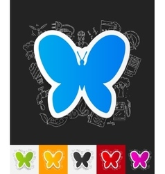 Butterfly paper sticker with hand drawn elements vector