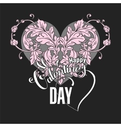 Valentines day card with floral elements vector