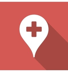 Clinic map pointer flat square icon with long vector