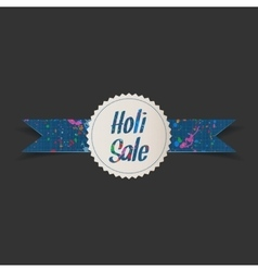 Holi sale white circle banner with color splashes vector