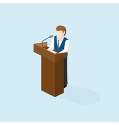Business man public speaker staying in the pulpit vector
