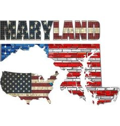 Usa state of maryland on a brick wall vector