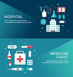 Medicine concept set of flat style for web banners vector