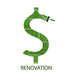 Concept symbol dollar with house renovation vector