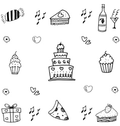 Food birthday doodle art vector