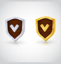 Accept gold shield vector
