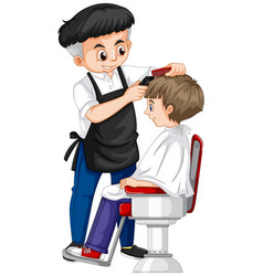 Barber giving boy haircut vector