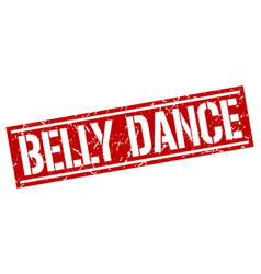 Belly dance square grunge stamp vector