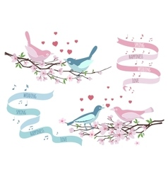 Birds on branches for wedding invitations vector