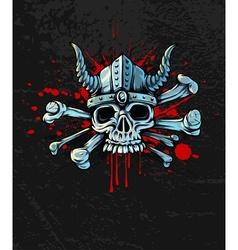 Bloody skull in helmet with vector