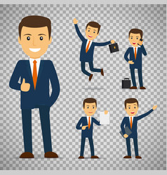 businessman cartoon character in different poses vector image vector image