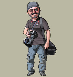 Cartoon joyful male photographer with camera vector