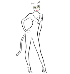 Cat Woman black contour with mask vector image vector image