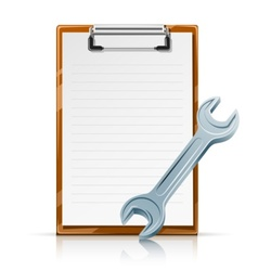 clipboard with spanner vector image vector image