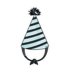 Crayon silhouette of hand drawing blue party hat vector