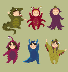 cute monster set children in monster costumes vector image vector image
