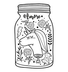 dead unicorn head in the jar for vector image
