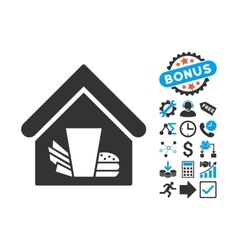 Fastfood Cafe Flat Icon with Bonus vector image