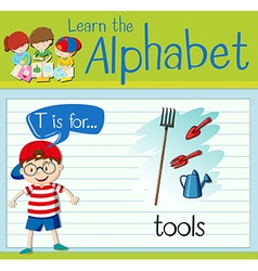 Flashcard letter t is for tools vector