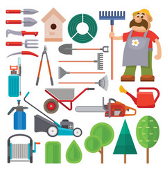 Garden equipment flat set and gardener vector