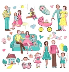 Hand drawn collection of family vector image