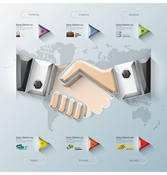Hand shake three dimension polygon business vector