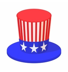 Hat in the USA flag colors icon cartoon style vector image vector image