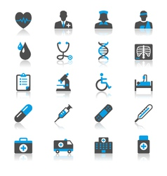 Healthcare flat with reflection icons vector image