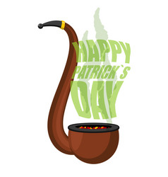 pipe with smoke for leprechaun happy st patricks vector image vector image
