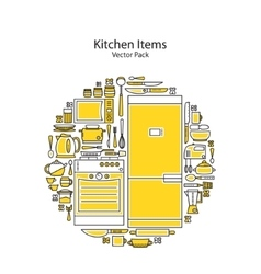 Set of line icons featuring various kitchen vector image