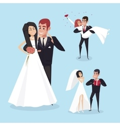 Set of wedding cartoon situations with the bride vector image