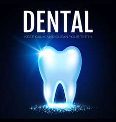 Shining helthy tooth with lights fresh vector