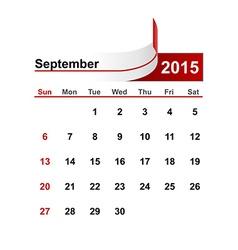 Simple calendar 2015 year september month vector