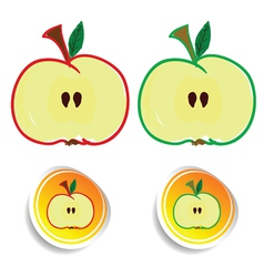 sticker apple color vector image vector image