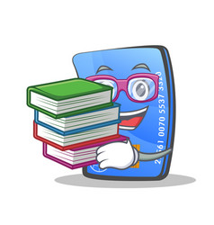 Student credit card character cartoon with book vector
