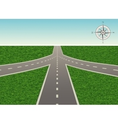 The intersection on the highway with compass vector