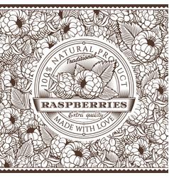 Vintage raspberries label on seamless pattern vector