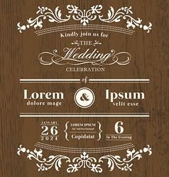 Vintage typography wedding invitation template vector