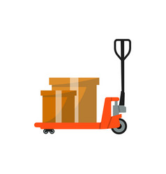 warehouse freight cart with boxes icon vector image vector image