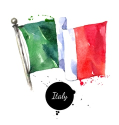 Watercolor Italy flag Hand drawn on white vector image vector image