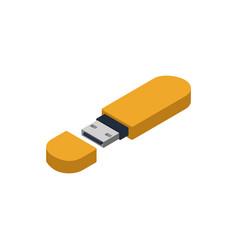 yellow usb drive isometric 3d icon vector image vector image