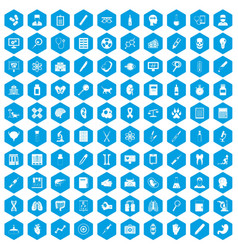 100 diagnostic icons set blue vector