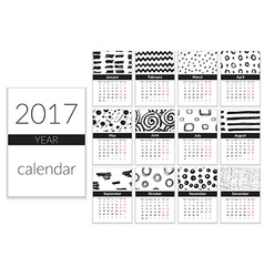 Calendar 2017 year a4 cards with hand drawn vector