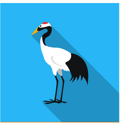 red-crowned crane icon in flat style isolated on vector image