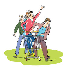 young people with a grocery cart vector image